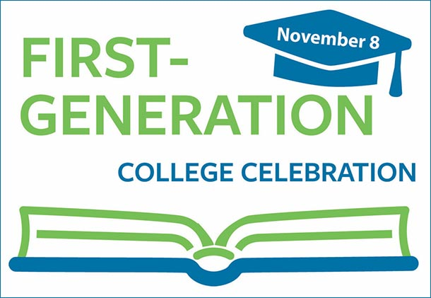 First-Generation College Celebration logo with an open book and mortar board.