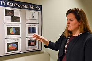 a woman pointing to a chart