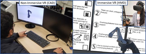 side-by-side photos show a student at a computer performing traditional computer-aided drafting on the left and a student using immersive virtual reality software on the right