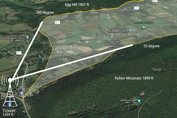 Google Earth illustration of a valley that includes a transmission tower icon and distance measurement information