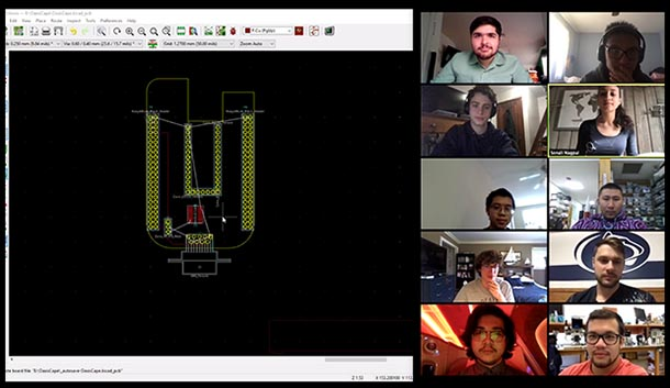 A screenshot of a video call with ten students and an image of the technical design.