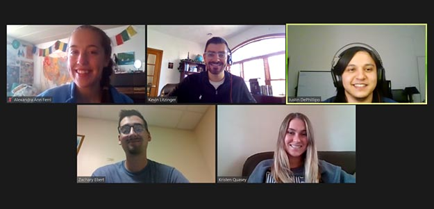 screen shot of five students in a Zoom meeting