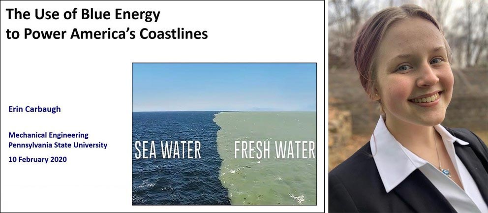 A presentation slide titled The Use of Blue Energy to Power America's Coastlines and a photo of a smiling engineering student.
