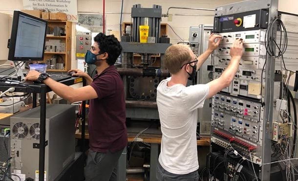 two students at work in an engineering lab